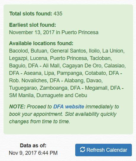 real time DFA appointment calendar tool by NetPinoy